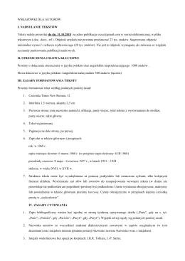 wytyczne dla autorów chcących opublikować swoje wystąpienie w
