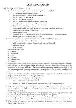 Regulamin ocen z zachowania