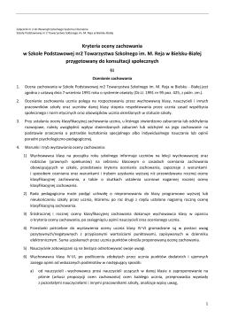 Kryteria oceny zachowania w Szkole Podstawowej nr2 Towarzystwa