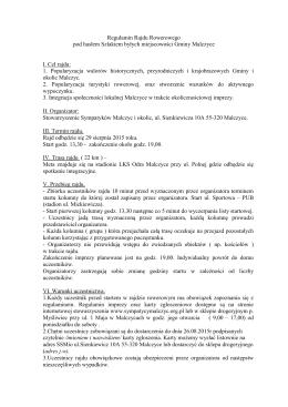 Regulamin rajdu - Stowarzyszenie Sympatyków Malczyc