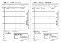 OCENA z ZACHOWANIA - Indeks PAPiK OCENA z ZACHOWANIA