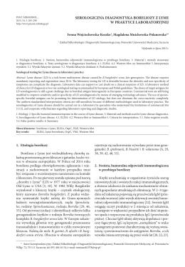 Serologiczna diagnostyka boreliozy z Lyme w praktyce laboratoryjnej