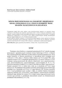 (CLA) i innych izomerów trans kwasów tłuszczowych w jogurtach