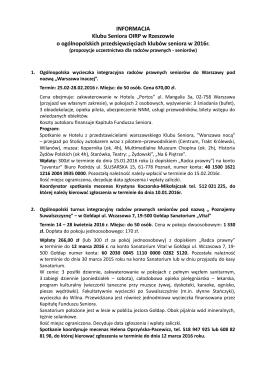 INFORMACJA Klubu Seniora OIRP w Rzeszowie o ogólnopolskich