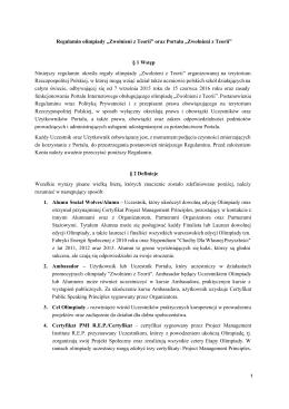 """Regulamin olimpiady """"Zwolnieni z Teorii"""" oraz Portalu """"Zwolnieni z"""