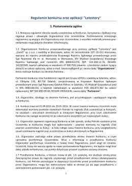 "Regulamin konkursu oraz aplikacji ""Lotostory"""