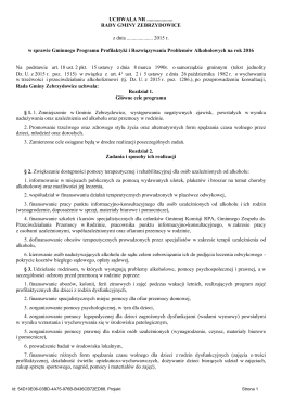 projekt uchwaly w sprawie Gminnego Programu Profilaktyki i