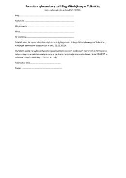 Formularz zgłoszeniowy na II Bieg Mikołajkowy w Tolkmicku,