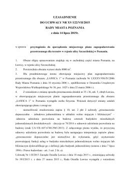 UZASADNIENIE DO UCHWAŁY NR XV/122/VII/2015 RADY MIASTA