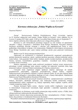 """Kiermasz edukacyjny """"Polska Wigilia na Kresach"""""""