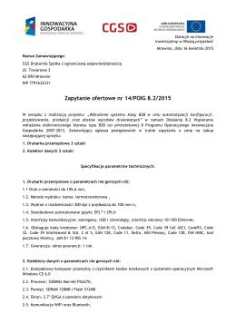 Zapytanie ofertowe nr 14/POIG 8.2/2015