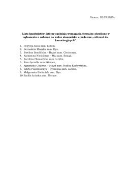 Lista kandydatów, którzy spełniają wymagania formalne określone