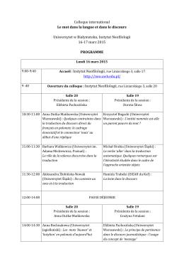 Programme  - Uniwersytet w Białymstoku