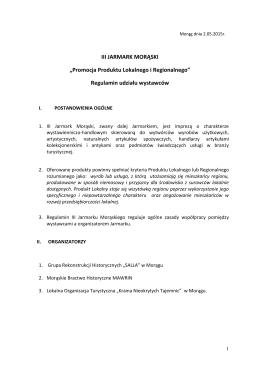 """III JARMARK MORĄSKI """"Promocja Produktu Lokalnego i"""