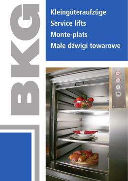 Kleingüteraufzüge Service lifts Monte
