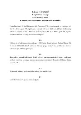 Uchwała Nr IV.39.2015 Rady Powiatu Ełckiego z dnia 26 lutego