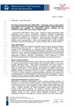 Lublin, 17.12.2014r. AGRO-PARK – z pasji dla rolnictwa VIII edycja