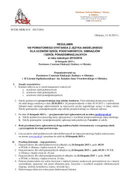 PCEiK-MDK/414/ /2015/2016 Oleśnica, 13.10.2015 r. REGULAMIN