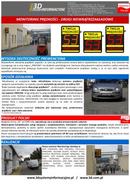 monitoring prędkości - drogi wewnątrzzakładowe wysoka