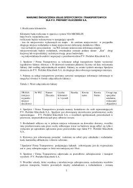 Warunki świadczenia usług spedycyjnych i transportowych dla P.V.