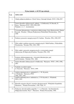 Wykaz książek w OCW5 (po selekcji)