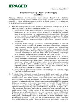 Zwięzła ocena sytuacji Spółki za 2014 r.