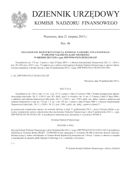 Ogłoszenie rozstrzygnięcia Komisji Nadzoru Finansowego w