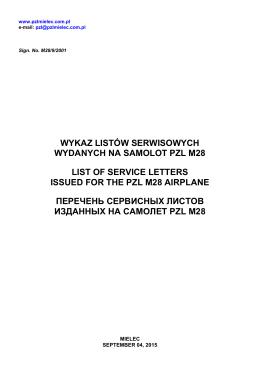 Wykaz Listów Serwisowych wydanych na Samolot PZL