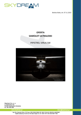 oferta samolot ultralekki pipistrel virus sw