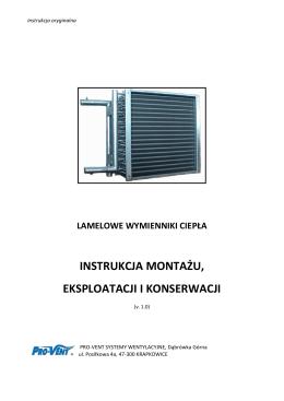 instrukcja montażu, eksploatacji i konserwacji - Pro-Vent