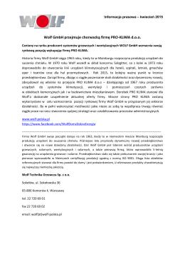 Wolf GmbH przejmuje chorwacką firmę PRO