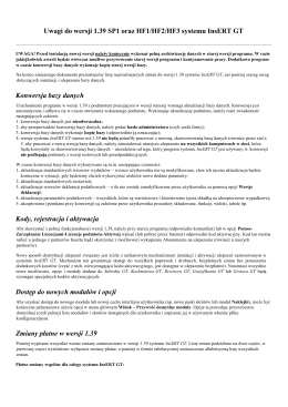 Uwagi do wersji 1.39 SP1 systemu InsERT GT