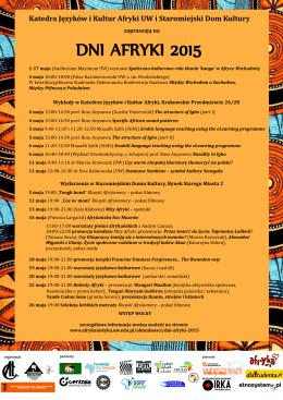 DNI AFRYKI 2015 - Katedra Języków i Kultur Afryki