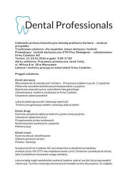 Całkowita proteza biofunkcyjna metodą profesora Gerbera