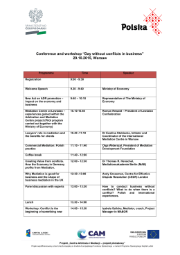 Agenda of the conference a day without a conflict