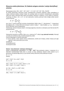 Klasyczna analiza jakościowa. 5A. Badania wstępne anionów i