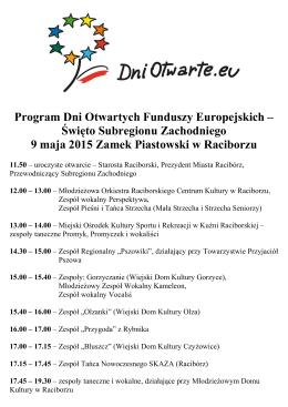 Program Dni Otwartych Funduszy Europejskich – Święto