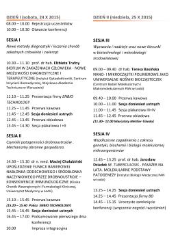 DZIEŃ I (sobota, 24 X 2015) SESJA I SESJA II DZIEŃ II (niedziela