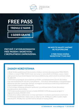 FREE PASS - zodiak gym