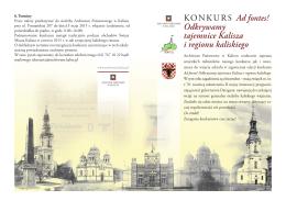 KONKURS Ad fontes! Odkrywamy tajemnice Kalisza i regionu
