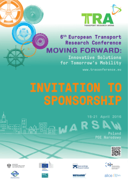 INVITATION TO SPONSORSHIP - 6th European Transport Research