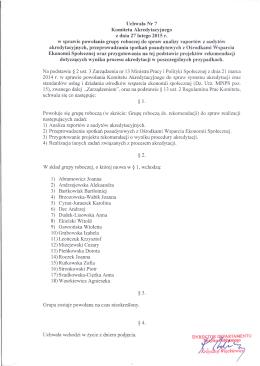 Uchwała Nr 7 Komitetu Akredytacyjnego z dnia 27 lutego 2015 r.