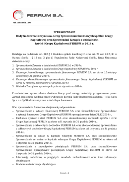 SPRAWOZDANIE Rady Nadzorczej z wyników oceny
