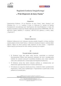 Regulamin konkursu Faema Primulator