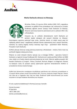 Marka Starbucks wkracza na Słowację