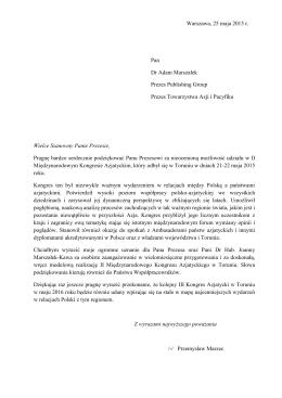 Warszawa, 25 maja 2015 r. Pan Dr Adam