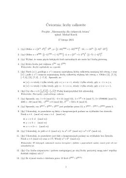 Ćwiczenia: liczby całkowite - Matematyka dla ciekawych świata