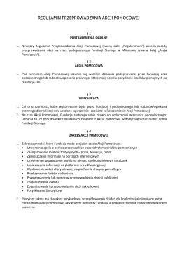 regulamin przeprowadzania akcji pomocowej