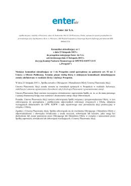 Komunikat aktualizujacy nr 1 – zawarcie umowy plasowania akcji