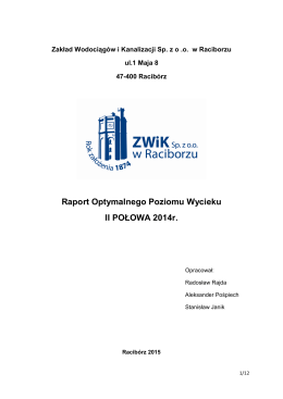 Raport Optymalnego Poziomu Wycieku II POŁOWA 2014r.